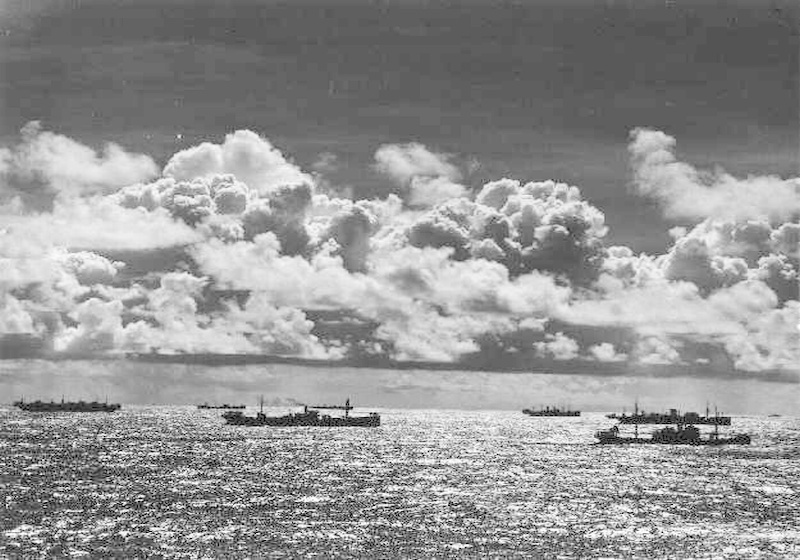 Ships in one of the convoys
