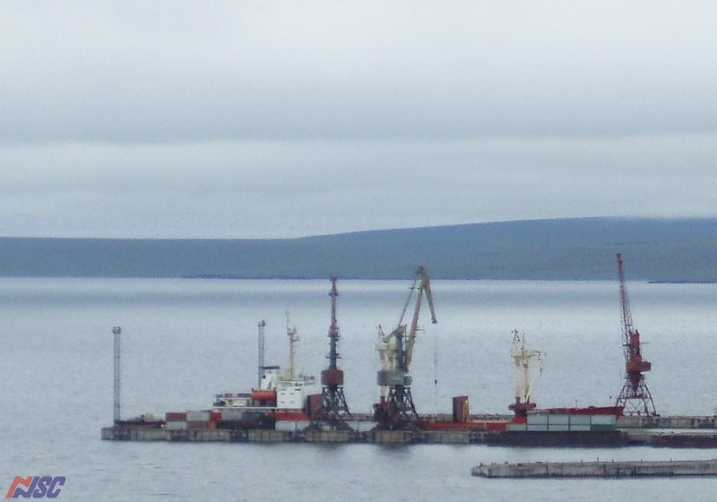 "M/v ""Pavel Korchagin"" is in the port of Tiksi"
