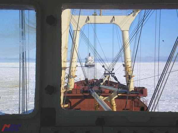 "Convoying of the m/v ""Pioner Kazakhastana"" - view from the navigational bridge"
