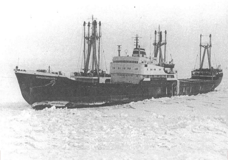 "The ship ""Kandalakshales"" in the ice"